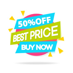Sale sticker with sign best price buy now for special offer, advertisement tag, sale, big sale, mega sale, hot price, discount poster isolated on white background. Vector Illustration