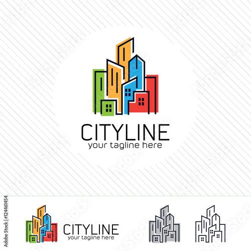 quotabstract city building logo design concept symbol icon