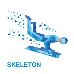 Winter sports - skeleton. Cartoon sportsman jump on sled (bobsled)