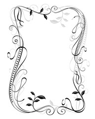 Abstract black and white vintage floral frame vector template
