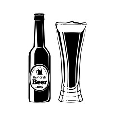 Beer Bottle and Glass. Design Element. An Isolated Object. Vector