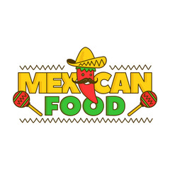 Mexican food logo for menu. Vector cartoon illustration. Isolated on white background. Mexico pepper character