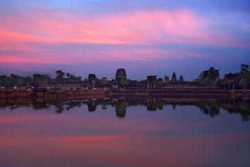 Cambodian landmark Angkor Wat with reflection