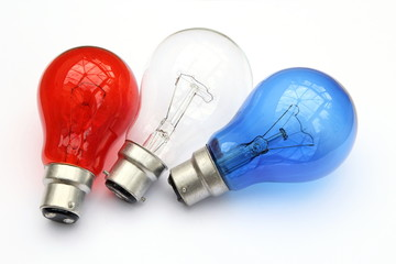 Red white and blue light bulbs in white background - patriotic flag concept