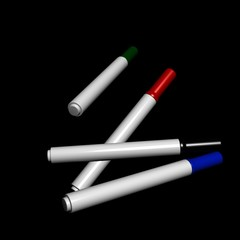 3D the color magic pen abstract on black background