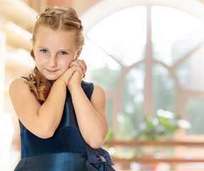 Beautiful little girl dressed in a blue dress.
