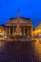Fototapete - view of ancient Pantheon church in Rome illuminated at night, Italy