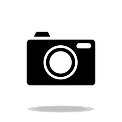 camera black with button photographic icon vector
