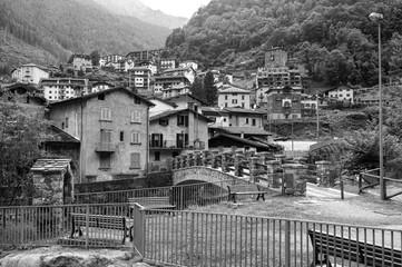 Mountain village. Black and white photo