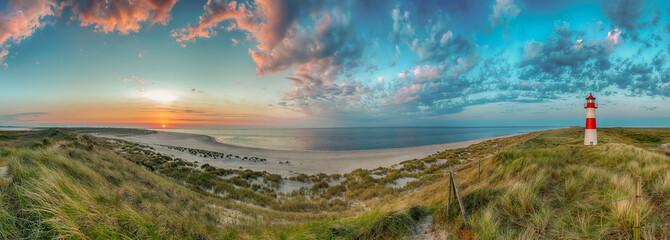 Fototapete - Sylt Sonnenuntergang Dünenpanorama