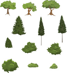 Vector illustrations of various trees and shrubs.