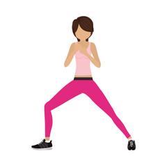 silhouette color woman martial arts front defense position vector illustration
