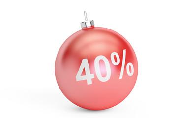 Christmas Sale 40% concept, 3D rendering