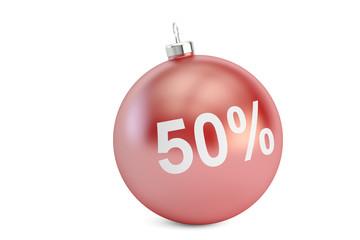 Christmas Sale 50% concept, 3D rendering