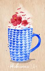 Teacup red tea kraft