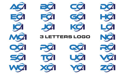3 letters modern generic swoosh logo ACI, BCI, CCI, DCI, ECI, FCI, GCI, HCI,ICI, JCI, KCI, LCI, MCI, NCI, OCI, PCI, QCI, RCI, SCI, TCI, UCI, VCI, WCI, XCI, YCI, ZCI