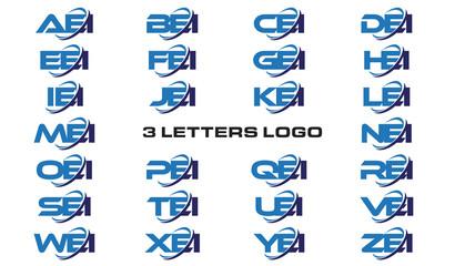 3 letters modern generic swoosh logo AEI, BEI, CEI, DEI, EEI, FEI, GEI, HEI,IEI, JEI, KEI, LEI, MEI, NEI, OEI, PEI, QEI, REI, SEI, TEI, UEI, VEI, WEI, XEI, YEI, ZEI