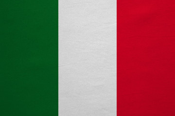 Flag of Italy real detailed fabric texture