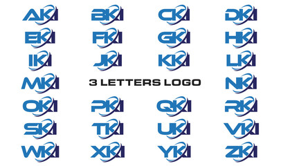 3 letters modern generic swoosh logo AKI, BKI, CKI, DKI, EKI, FKI, GKI, HKI,IKI, JKI, KKI, LKI, MKI, NKI, OKI, PKI, QKI, RKI, SKI, TKI, UKI, VKI, WKI, XKI, YKI, ZKI
