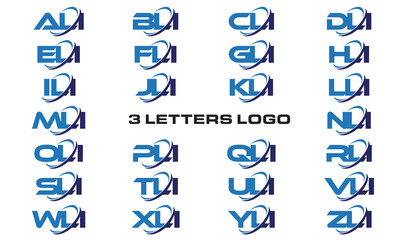 3 letters modern generic swoosh logo ALI, BLI, CLI, DLI, ELI, FLI, GLI, HLI,ILI, JLI, KLI, LLI, MLI, NLI, OLI, PLI, QLI, RLI, SLI, TLI, ULI, VLI, WLI, XLI, YLI, ZLI