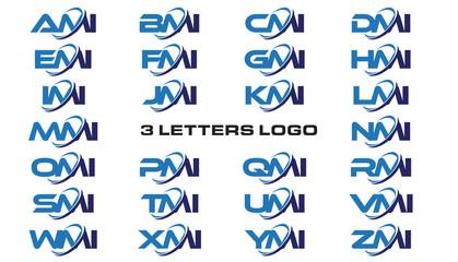 3 letters modern generic swoosh logo AMI, BMI, CMI, DMI, EMI, FMI, GMI, HMI,IMI, JMI, KMI, LMI, MMI, NMI, OMI, PMI, QMI, RMI, SMI, TMI, UMI, VMI, WMI, XMI, YMI, ZMI