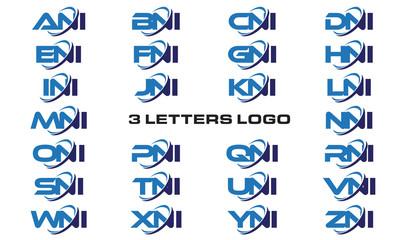 3 letters modern generic swoosh logo ANI, BNI, CNI, DNI, ENI, FNI, GNI, HNI,INI, JNI, KNI, LNI, MNI, NNI, ONI, PNI, QNI, RNI, SNI, TNI, UNI, VNI, WNI, XNI, YNI, ZNI
