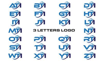 3 letters modern generic swoosh logo ATI, BTI, CTI, DTI, ETI, FTI, GTI, HTI,ITI, JTI, KTI, LTI, MTI, NTI, OTI, PTI, QTI, RTI, STI, TTI, UTI, VTI, WTI, XTI, YTI, ZTI