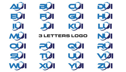 3 letters modern generic swoosh logo AUI, BUI, CUI, DUI, EUI, FUI, GUI, HUI,IUI, JUI, KUI, LUI, MUI, NUI, OUI, PUI, QUI, RUI, SUI, TUI, UUI, VUI, WUI, XUI, YUI, ZUI