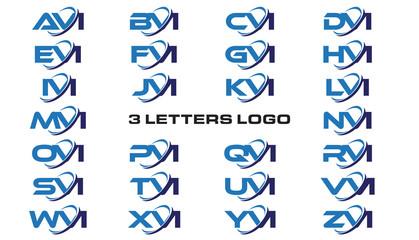 3 letters modern generic swoosh logo AVI, BVI, CVI, DVI, EVI, FVI, GVI, HVI,IVI, JVI, KVI, LVI, MVI, NVI, OVI, PVI, QVI, RVI, SVI, TVI, UVI, VVI, WVI, XVI, YVI, ZVI