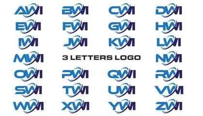 3 letters modern generic swoosh logo AWI, BWI, CWI, DWI, EWI, FWI, GWI, HWI,IWI, JWI, KWI, LWI, MWI, NWI, OWI, PWI, QWI, RWI, SWI, TWI, UWI, VWI, WWI, XWI, YWI, ZWI