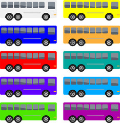 Vector illustration of a group of colorful coach buses.