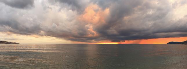 Evening sunlight illuminate sea water