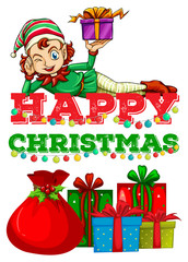 Christmas theme with elf and presents
