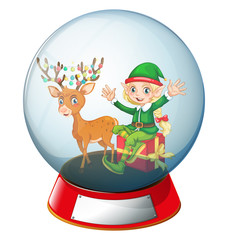 Christmas theme with elf and reindeer in glass ball