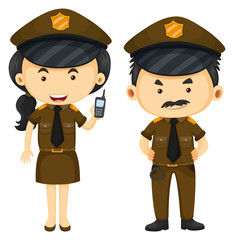 Police officers in brown uniform