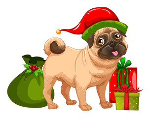 Christmas theme with cute dog and gift boxes
