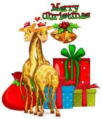 Christmas card template with giraffes and presents