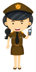Policewoman in brown uniform