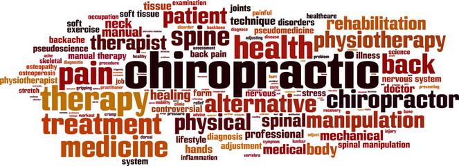 Chiropractic word cloud concept. Vector illustration