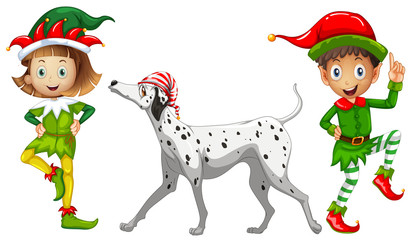 Two elves and pet dog