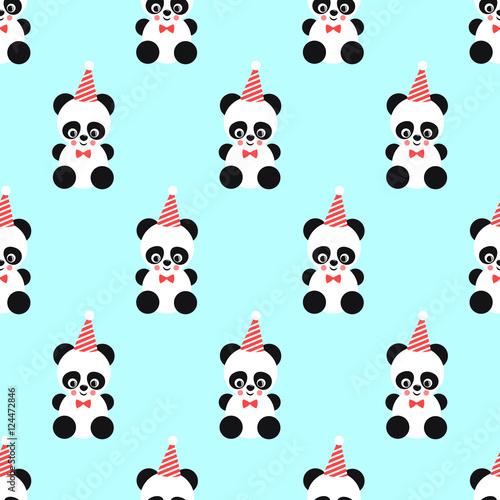 Quot Panda And Birthday Cap Seamless Pattern On Mint Green