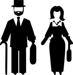 costume suit man and woman black silhouette original flat vector icon