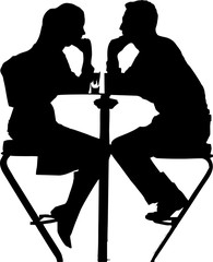 silhouette of couple sitting on bar stools at high table with drinks