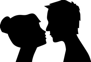 silhouette of man and woman head profil couple kissing