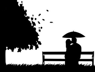 sitting kissing silhouette clip art