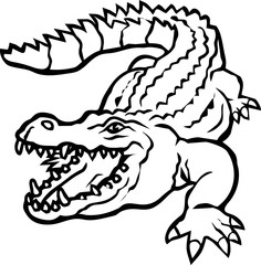 stencil design of wild crocodile in black and white