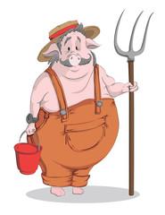 Vector cartoon pig-farmer