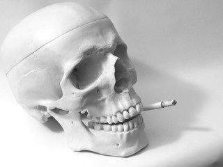 Skull display smoking kills black and white