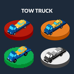 vector illustration. Set of icons of the tow truck of different styles - pixel, monochrome, colorful. Isometric, 3D.