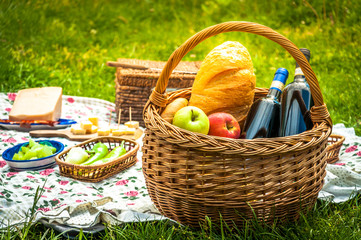 Picnic in the park with a handmade wicker basket